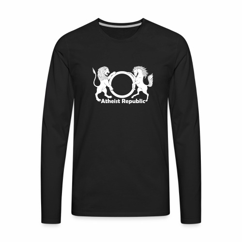 Atheist Republic Logo - White - Men's Premium Long Sleeve T-Shirt