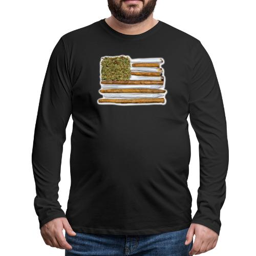 American Flag With Joint - Men's Premium Long Sleeve T-Shirt