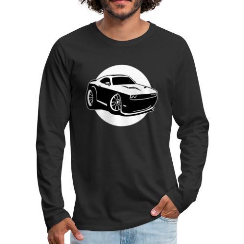 Modern American Muscle Car Cartoon Illustration - Men's Premium Long Sleeve T-Shirt