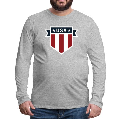 USA Pride Red White and Blue Patriotic Shield - Men's Premium Long Sleeve T-Shirt