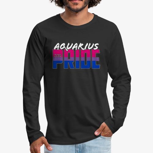 Aquarius Bisexual Pride Flag Zodiac Sign - Men's Premium Long Sleeve T-Shirt
