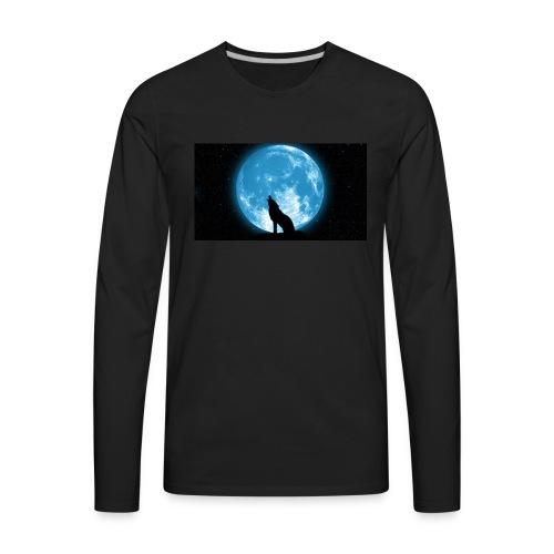 488234 wolf howling at the moon wallpaper 2560x144 - Men's Premium Long Sleeve T-Shirt
