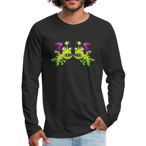 Three-eyed monstrous dragons face to face meeting - Men's Premium Long Sleeve T-Shirt