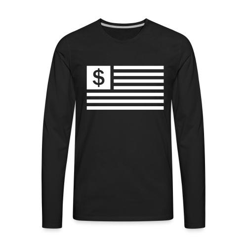 American Dollar Sign Flag - Men's Premium Long Sleeve T-Shirt