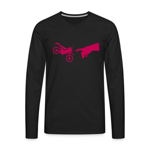 The hand of god brakes a motorcycle as an allegory - Men's Premium Long Sleeve T-Shirt