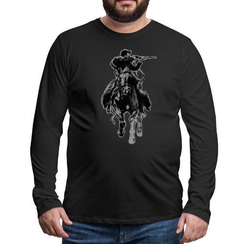 Rustic cowboy with rifle riding horse - Men's Premium Long Sleeve T-Shirt