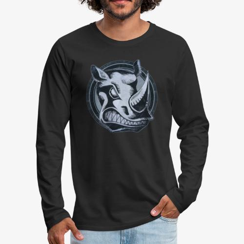 Wild Rhino Grunge Animal - Men's Premium Long Sleeve T-Shirt