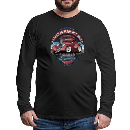 American Hot Rods Garage Vintage Car Sign Cartoon - Men's Premium Long Sleeve T-Shirt