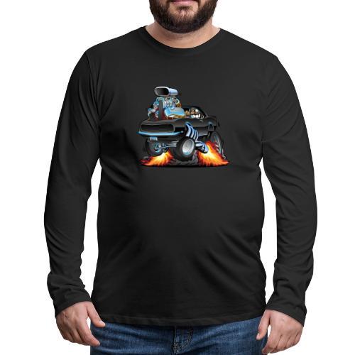 Classic Sixties American Muscle Car Cartoon - Men's Premium Long Sleeve T-Shirt