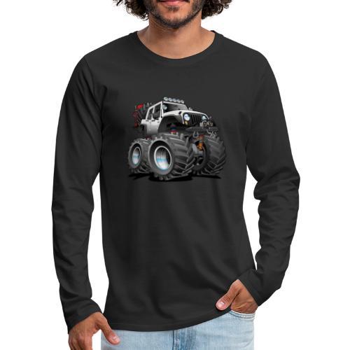 Off road 4x4 white jeeper cartoon - Men's Premium Long Sleeve T-Shirt