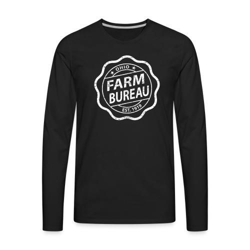 White Distressed Logo - Men's Premium Long Sleeve T-Shirt