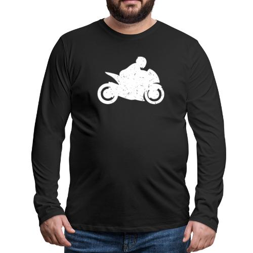 Super Sport Bike Motorcycle Rider Distressed - Men's Premium Long Sleeve T-Shirt