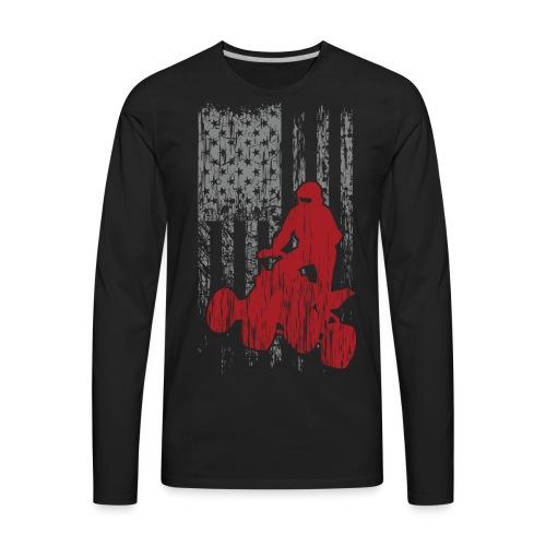ATV Quad USA Flag Grunge - Men's Premium Long Sleeve T-Shirt