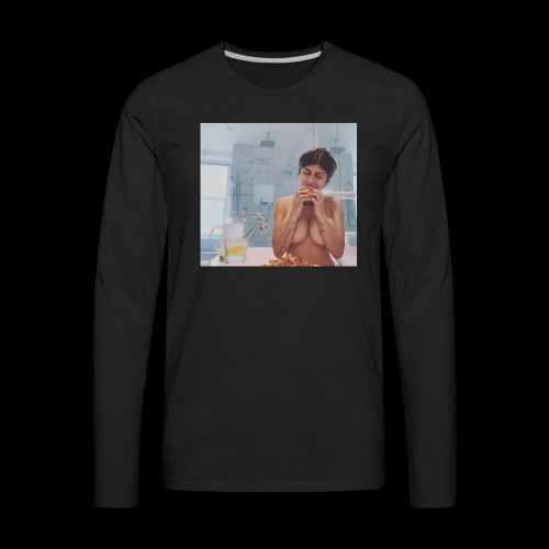 Mia Khalifa Eating A Burger - Men's Premium Long Sleeve T-Shirt