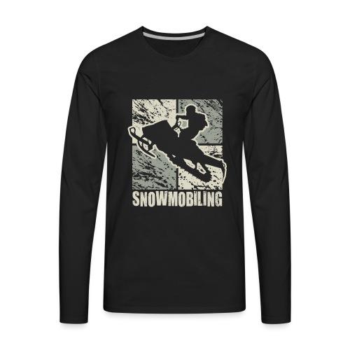 Snowmobile Rider Cubism - Men's Premium Long Sleeve T-Shirt