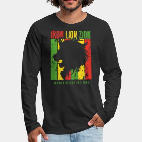 iron lion jamaica reggae - Men's Premium Long Sleeve T-Shirt