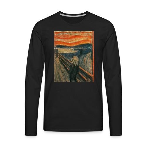 The Scream (Textured) by Edvard Munch - Men's Premium Long Sleeve T-Shirt