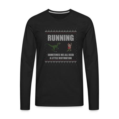Ugly Christmas Sweater Running Dino and Santa - Men's Premium Long Sleeve T-Shirt