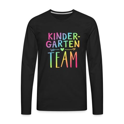 Kindergarten Team Neon Rainbow Teacher T-Shirts - Men's Premium Long Sleeve T-Shirt