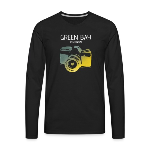 Green Bay camera with heart - Men's Premium Long Sleeve T-Shirt