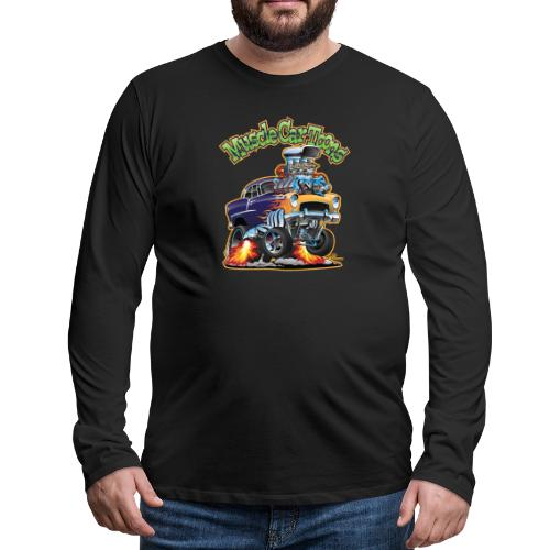 Muscle Car Toons Automotive Comic Book Cover Art - Men's Premium Long Sleeve T-Shirt