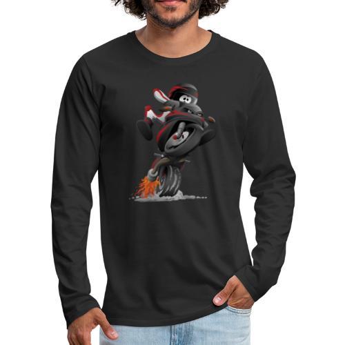 Sportbike motorcycle cartoon illustration - Men's Premium Long Sleeve T-Shirt