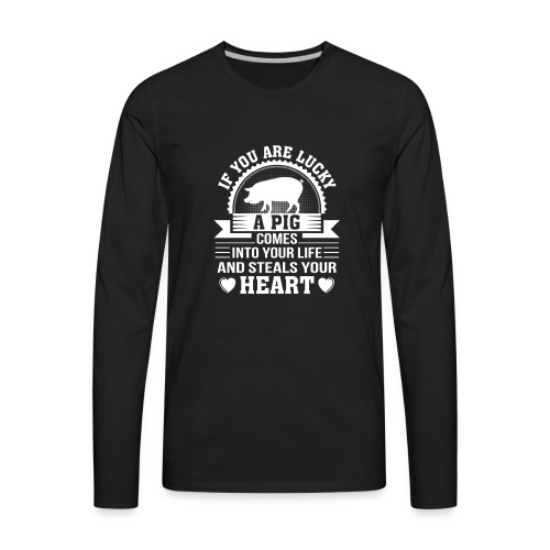 Mini Pig Comes Your Life Steals Heart - Men's Premium Long Sleeve T-Shirt