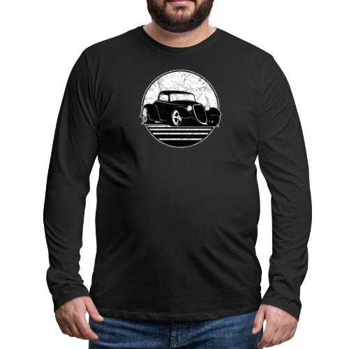 Retro Hot Rod Grungy Sunset Illustration - Men's Premium Long Sleeve T-Shirt