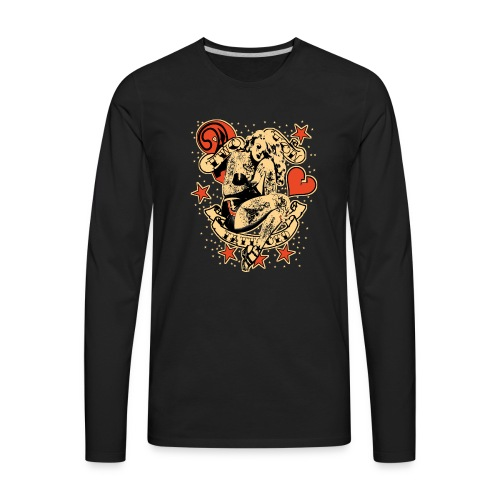 Screwed & tattooed Pin Up Zombie - Men's Premium Long Sleeve T-Shirt