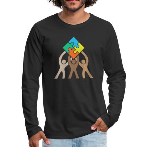 Teamwork and Unity Jigsaw Puzzle Logo - Men's Premium Long Sleeve T-Shirt