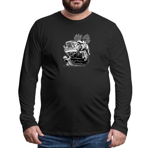 Cement Truck Mixer Cartoon - Men's Premium Long Sleeve T-Shirt
