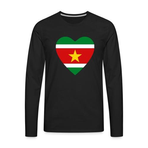 Suriname Flag Heart - Men's Premium Long Sleeve T-Shirt