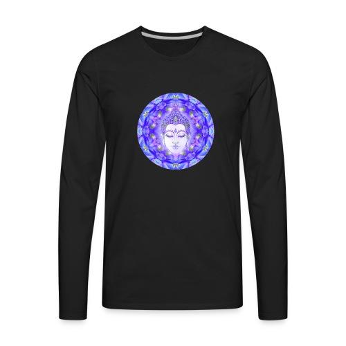 Summer Delphinium Meditation Yoga Mandala - Men's Premium Long Sleeve T-Shirt