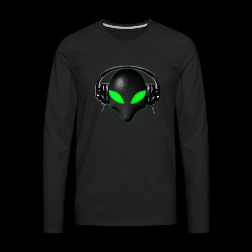 Alien Bug Face Green Eyes in DJ Headphones - Men's Premium Long Sleeve T-Shirt