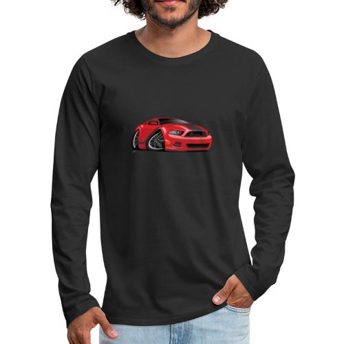 American Muscle Car Cartoon Illustration - Men's Premium Long Sleeve T-Shirt
