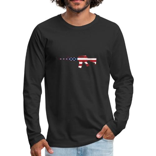 AR-15 Stars & Stripes Rifle Silhouette - Men's Premium Long Sleeve T-Shirt