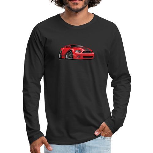 American Muscle Car Cartoon Illustration - Men's Premium Long Sleeve T-Shirt