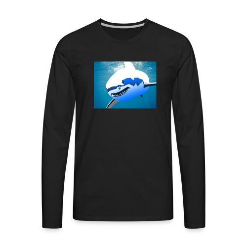 Super Lit Shark Drawing by Adam Tennant - Men's Premium Long Sleeve T-Shirt