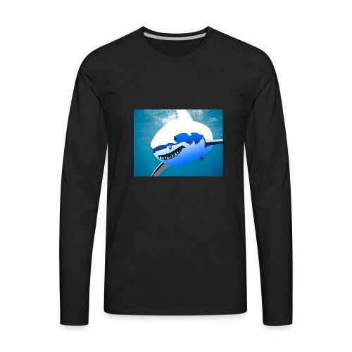 Super Lit Shark Drawing by Adam Tennant - Men's Premium Long Sleeve T-Shirt