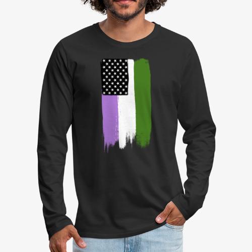 Genderqueer Pride Stars and Stripes - Men's Premium Long Sleeve T-Shirt