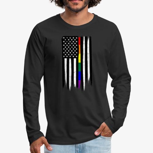 LGBTQ Thin Line Amercian Flag - Men's Premium Long Sleeve T-Shirt