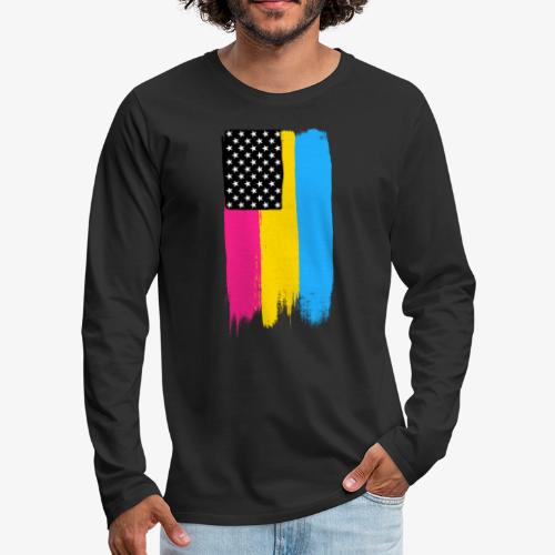 Pansexual Pride Stars and Stripes - Men's Premium Long Sleeve T-Shirt