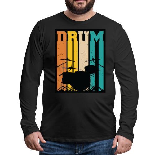 Retro Drum Set Silhouette Illustration - Men's Premium Long Sleeve T-Shirt