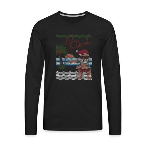 Ugly Christmas Sweater Hawaiian Dancing Santa - Men's Premium Long Sleeve T-Shirt