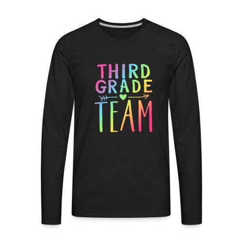 Third Grade Team Neon Rainbow Teacher T-Shirts - Men's Premium Long Sleeve T-Shirt