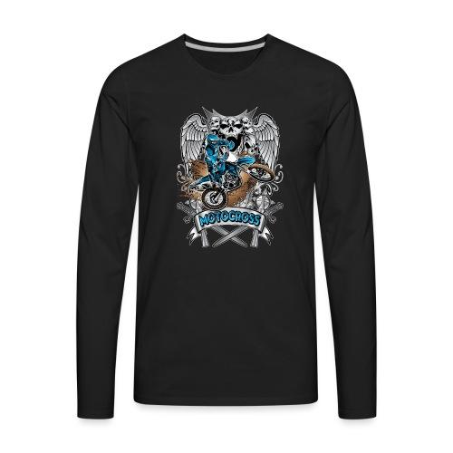 Heraldic Motocross Blue - Men's Premium Long Sleeve T-Shirt