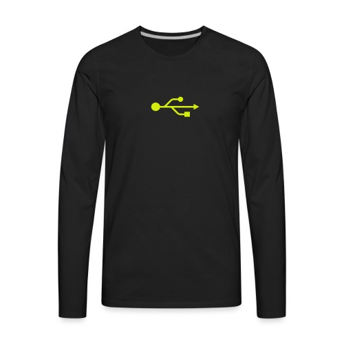 Yellow USB Logo Mid - Men's Premium Long Sleeve T-Shirt
