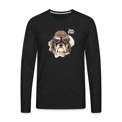 Portrait Bulldog Vintage Leather Aviator Helmet - Men's Premium Long Sleeve T-Shirt