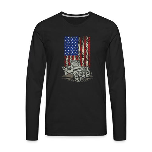 Jeep American Flag - Men's Premium Long Sleeve T-Shirt