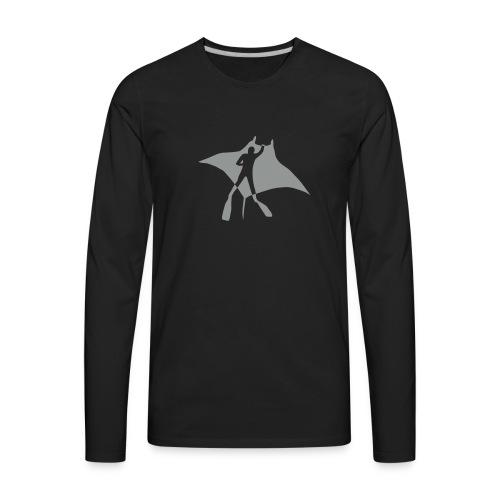manta ray sting scuba diving diver dive fish ocean - Men's Premium Long Sleeve T-Shirt